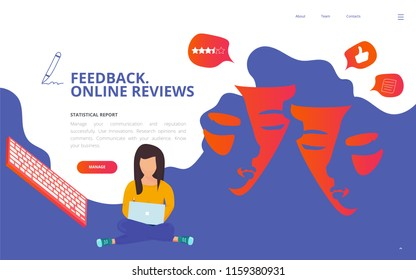 Brand reputation management concept vector illustration. Customer feedback online review site landing page wireframe. Brand reputation report client survey presentation template.