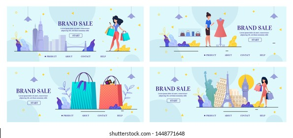 Brand Sale Landing Page Set for Woman Shopping via Internet. World Promoting Company Credibility. Cosmetics, Perfumery and Fashion Clothes Online Order. Vector Illustration in Flat Cartoon Design