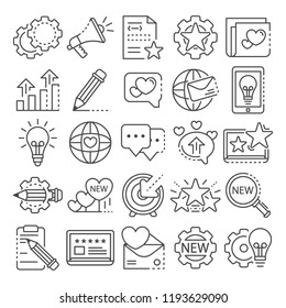 Brand social project icon set. Outline set of brand social project vector icons for web design isolated on white background