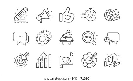 Brand social project line icons. Business strategy, Megaphone and Representative. Influence campaign, social media marketing, brand ambassador icons. Linear set. Vector