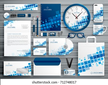 brand stationery abstract template with blue mosaic shapes