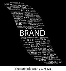 BRAND. Word collage on black background. Illustration with different association terms.