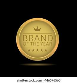 Brand of the year label. Golden business badge. Golden award