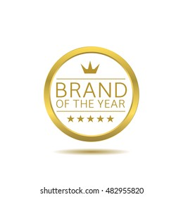 Brand of the year label with golden frame. Business badge