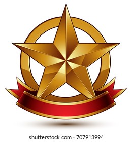 Branded golden symbol with stylized pentagonal glossy star and red decorative curvy ribbon, best for use in web and graphic design.