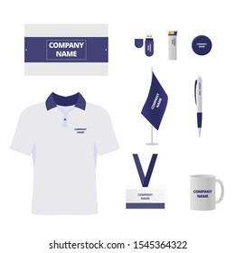 Branded souvenirs vector illustrations set. Company gift shop products. Uniform and stationery items. T shirt, id badge and mug. Corporate identity, business merchandise. Flash drive and lighter
