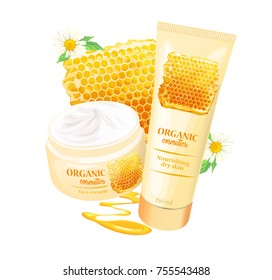 Branded tubes of nourishing cream, lotion with chamomile, honey, beeswax for dry skin realistic vector illustration isolated on white background. Organic cosmetics concept for womens body care eco