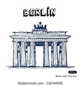 The Brandenburg gate in Berlin. Hand drawn sketch illustration isolated on white background