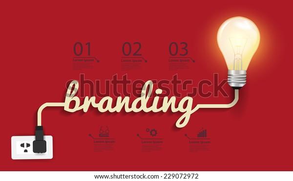 Concepto de promoción de marca, diseño gráfico abstracto de idea de bombilla creativa, diagrama, opciones de aumento, ilustración vectorial plantilla de diseño moderno
