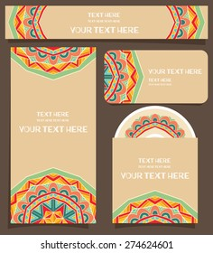 Branding design with festive Mexican pattern. Bright tribal ornament for identity firm design. Set of flyer or poster, business card, horizontal banner, DVD with cover. Vector file is EPS8.