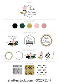 Branding design  kit. Logo creator. Can be used for your products, blog, banner, personal cards, sticker, graphic projects, etc.
