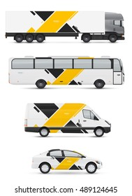 Branding design for transport. Mockup of passenger car, bus and van. Templates vehicles for advertising and corporate identity. Graphics elements with abstract modern geometric shapes.