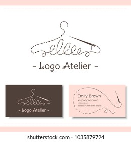 Branding for the fashion designer, Atelier, wedding boutique, women's clothing store, studio sewing and tailoring. Logo, business card. Stylized hanger from thread and needle