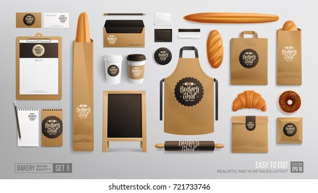 Branding identity Mockup set for Bakery shop, Cafe. Corporate style Bakery food package mockup. Realistic MockUp set of logo, uniform, street menu advertising board, plastic cup, apron, paper bag