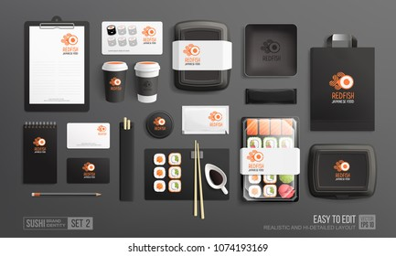 Branding identity Mockup set for Sushi Shop, Japanese food restaurant. Black Corporate style Sushi package mockup set of lunch box, rolls, chopsticks paper bag, menu