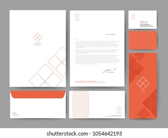 Branding identity template corporate company design orange color, Set for business hotel, resort, spa, luxury premium logo, vector illustration