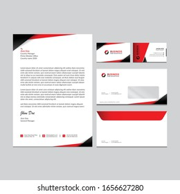 Branding identity template corporate company design, Set for all kind of business red vector illustration