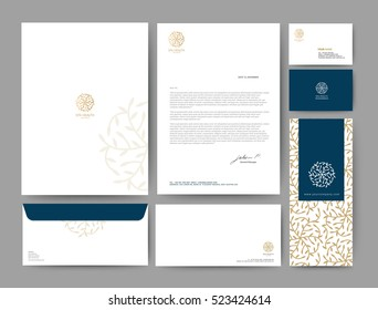 Branding identity template corporate company design, Set for business hotel, resort, spa, luxury premium flora logo, gold color, vector illustration