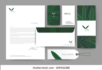 Branding identity template corporate company design, Set for business hotel, resort, spa,  vector illustration