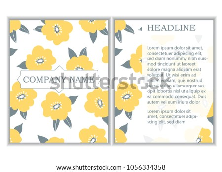 88c44996bf9221 Branding identity template with yellow floral company design. Place for  brand name and headline.