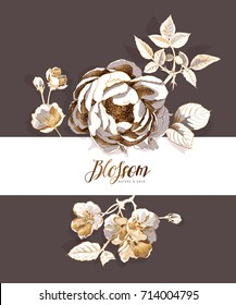 Branding invitation card with a gold Peony and Cherry flowers and leaves on a dark background. Vector illustration.