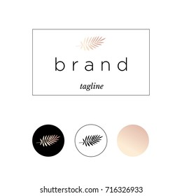 Branding, logo, identity for product or company. Exotic leaf in black and rose gold colors