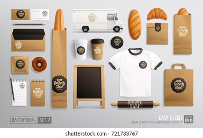 Branding Mockup set for Bakery shop, Cafe. Corporate identity mockup. Bakery food cardboard package. Realistic MockUp set of logo, uniform, street menu wooden board, plastic cup, food truck, paper bag