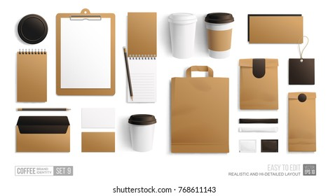 Branding Mockup set for Coffee shop, Cafe, restaurant isolated on white. Corporate identity blank mockup. Coffee food package. Realistic Empty MockUp set of cardboard, envelope, paper pack, menu