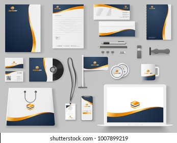 Branding Mockup set, Corporate identity mockup set includes of letterhead, file folder, envelope, coffee mug, paper pack, website, shopping bag and visiting card.