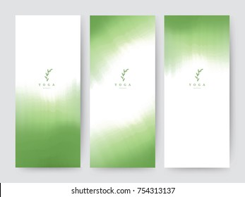 Branding Packaging brush abstract background, logo banner voucher, watercolor green leaf fabric pattern. vector illustration.