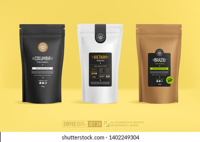 Branding and packaging design -  mockup template isolated for presentation and advertising. Coffee Soul - concept of emblem or logo brand. Paper coffee package mock-up Vector 3d illustration