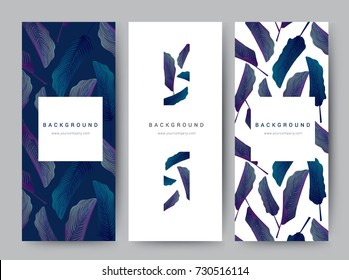 Branding Packaging leaf nature background, logo banner voucher, spring summer tropical, vector illustration