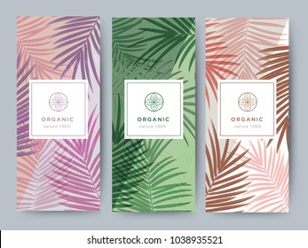 Branding Packaging palm and coconut leaf nature background, logo banner voucher, spring summer tropical, vector illustration