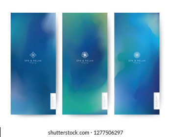Branding Packaging Watercolor styel. Sky and Water sea Beach Texture. Abstract background with logo. For Template banner, voucher, fabric pattern. Vector illustration.