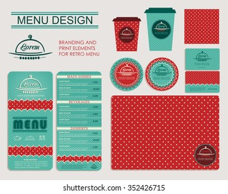 Branding and print elements for cafe. Template for branding identity restaurant or cafe. Set of menu, business cards, labels. Retro design concept in turquoise and red.