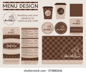Branding and print elements for chocolate cafe. Template for branding identity restaurant or cafe. Set of menu, business cards, labels. Menu design concept in brown and beige.