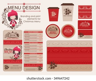 Branding and print elements for Christmas menu. Template for branding identity restaurant or cafe. Set of menu, business cards, labels. Bright design concept in red and beige.