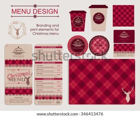 branding print elements christmas menu template のベクター画像素材