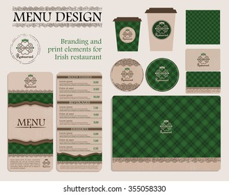 Branding and print elements for Irish restaurant or cafe. Template for branding identity restaurant or cafe. Set of menu, business cards, labels. Bright design concept in green and beige.