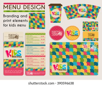 Branding and print elements for kids menu. Vector children's menu template for healthy food cafe.