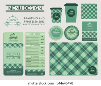 Branding and print elements for vegetarian cafe. Template for branding identity restaurant or cafe. Set of menu, business cards, labels. Bright design concept in green.