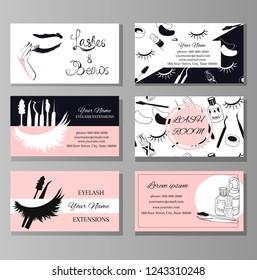 Branding for salon eyelash extension. Set lashmaker business card.  Vector illustration in modern style. Logo, pattern, fashion and beauty background