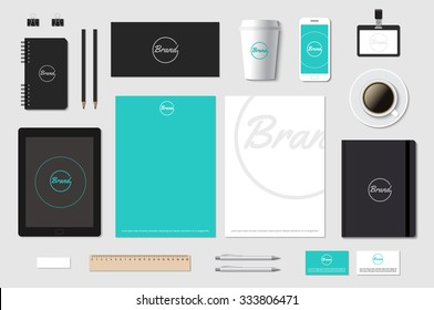 Branding template mockup for CI presentation on grey. Editable vector illustration.