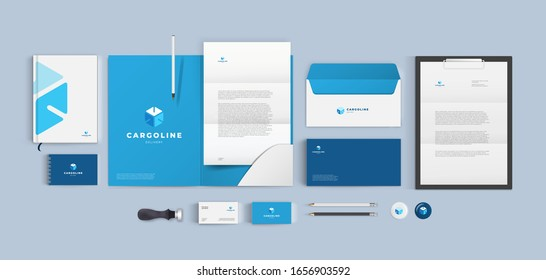 Branding for transport cargo company. Blue corporate identity style with cube logo and color background. Vector design template.