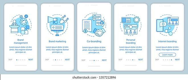Branding types onboarding mobile app page screen vector template. Personal, internet branding, co-branding. Walkthrough website steps, linear illustrations. UX, UI, GUI smartphone interface concept