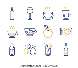 Brandy bottle, Bordeaux glass and Cold coffee icons simple set. Cappuccino, Food and Water drop signs. Latte, Apple and Water glass symbols. Doppio, Beer bottle. Line brandy bottle icon. Colorful set