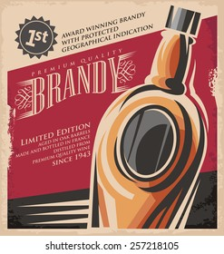Brandy vintage poster design template on old paper texture. Retro drink creative printed media concept. Vector flyer or banner background layout.