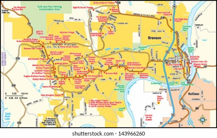 Branson, Missouri area map