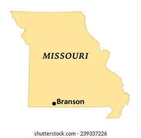 Branson, Missouri locate map