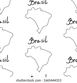 Brasil icons seamless pattern. Sketch vector illustration, doodle elements, Isolated Brasil national elements, Travel to Brasil pattern for cards and web pages